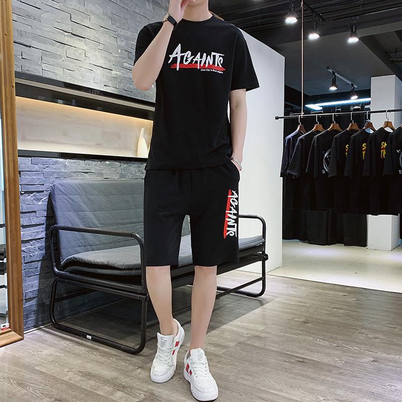 Shortsleeved Tshirt Suit Mens Summer Chao Brand Printed Korean Style Students Trend Tshirt Short Pants Leisure Twopiece Suit