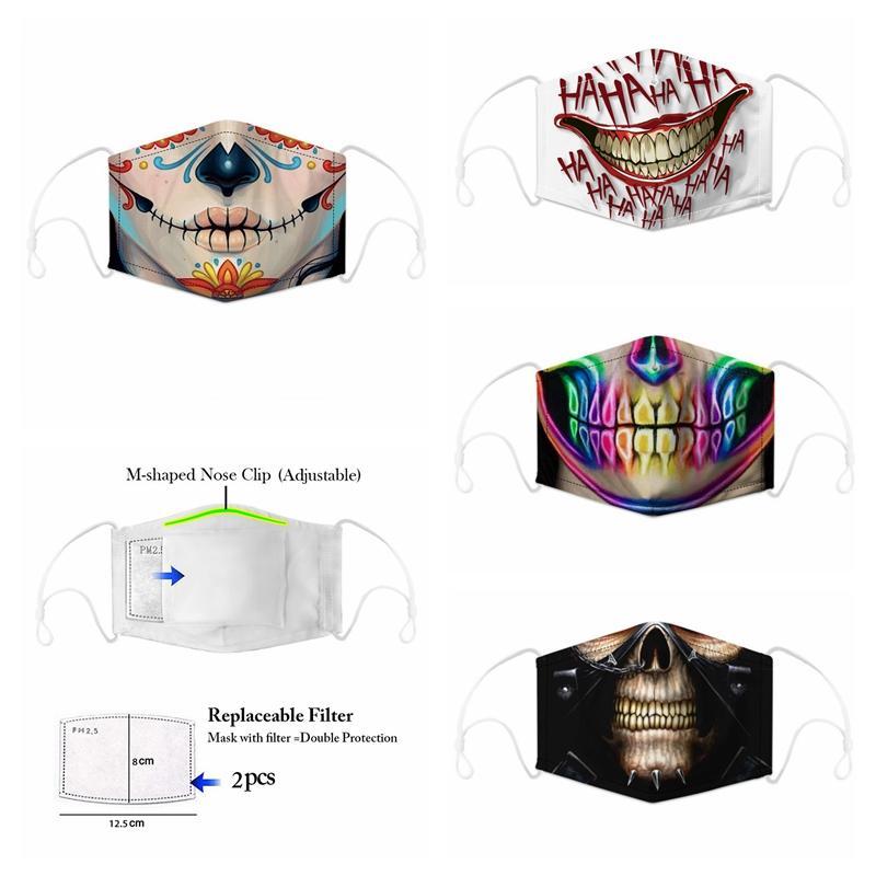 Tasarımcı Yüz Moda Pamuk Yeniden kullanılabilir Yüz Toz Windproof Maskesi Isınma Kafatası Bayrak Dijital Spor Halloween Cosplay Yüz Maskeleri Maske