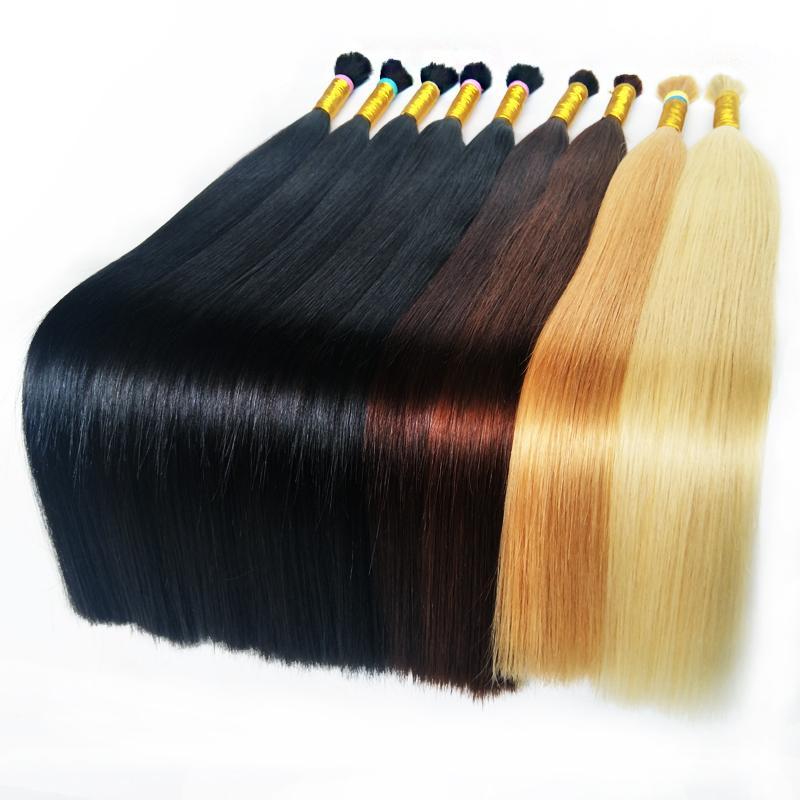 Hot Sale Bulk Human Braiding Hair Bulk Virgini Remyi Hair Unprocessed Blonde Hair Black Brown Straight 16 18 20 22 24 26 28