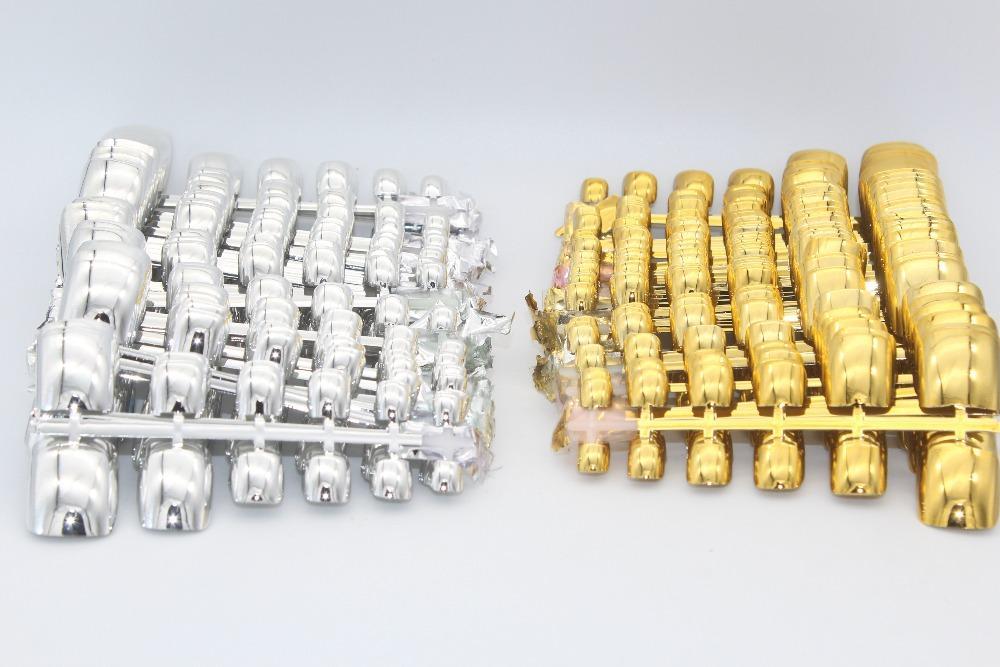 1200 adet Metalik Ayak Nail İpuçları Akrilik Nail Art İpuçları Profesyonel Sahte Yanlış Ayak Nail İpuçları DIY Shining Altın + gümüş Renk Çivi
