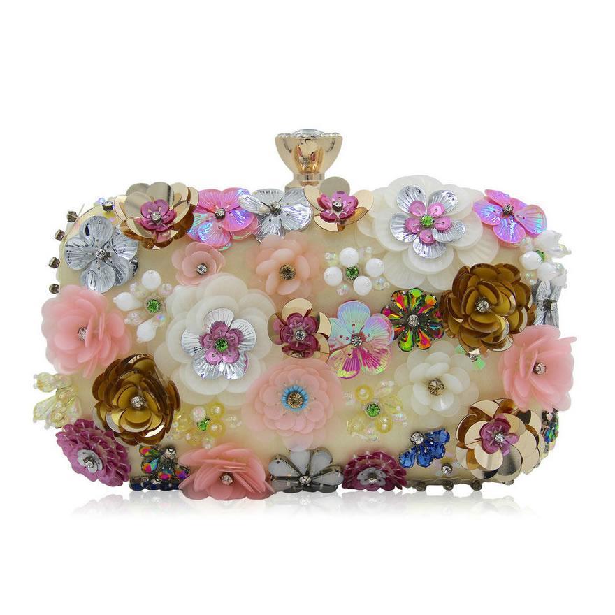 Luxury Crystal Clutch Evening Bag Flower Party Purse Women Wedding Bridal Handbag Pouch Soiree Pochette Bag Sg131