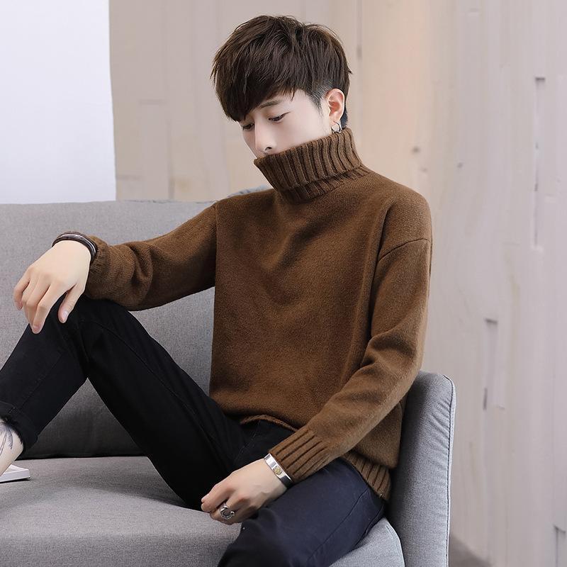 2018 Nouveau Automne Hiver Vêtements pour hommes Pull à col roulé mode couleur solide Casual Pull Slim Fit Hommes Marque Tricoté overs 3XL