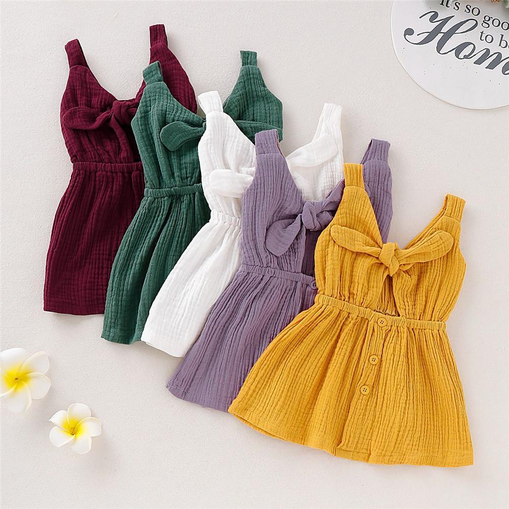 Mikrdoo Hot Summer Sale Solid Color Party Girl bebê Crianças vestido sem mangas Cotton bowknot vestidos bonitos