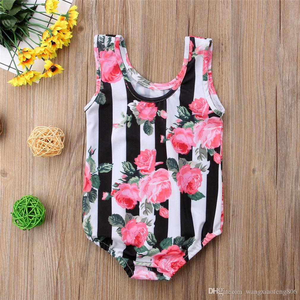 Aasop 2019 one piece toddler baby girls floral bikini one piece swimwear striped  print swimsuit lovely bathing suit toddler beachwear new from