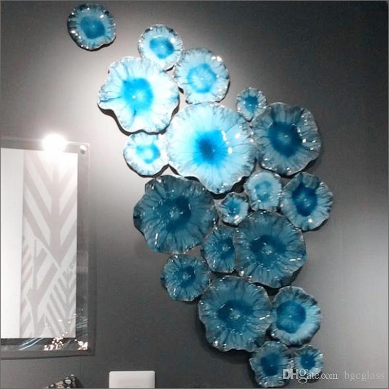Ручного дутья муранского стекла подвесные светильники стены искусства Дэйла Чихули боросиликатного стиль художественного стекла ручной выдувки синий стеклянный цветок стены искусства таблички