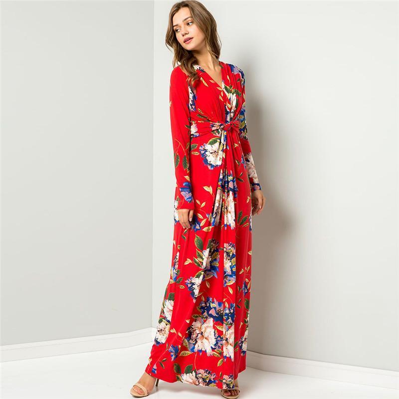 Langarm V-Ausschnitt-beiläufige lange Kleider lose weibliche Kleidung Herbst Womens Designer-Kleid Flora gedruckt