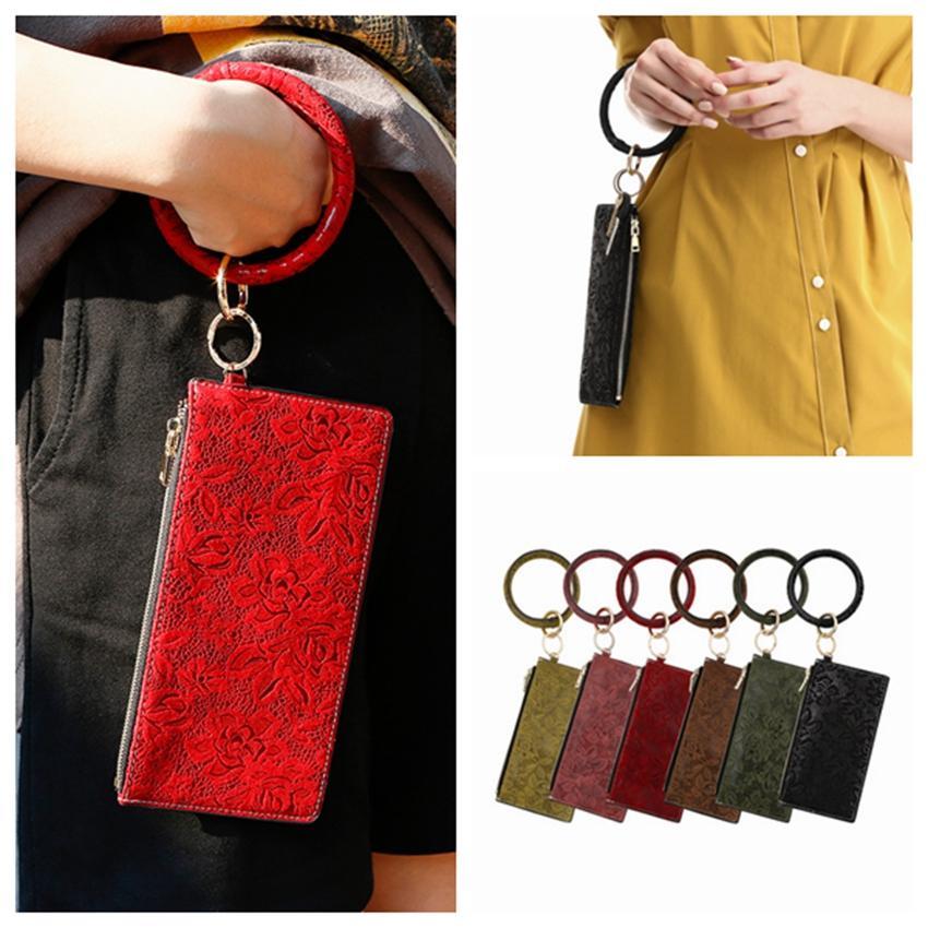 الأزياء المفتاح الدائري الاسوره بو الجلود سلسلة المفاتيح أساور حقيبة النقش المرأة أساور سوار قابض حقيبة ZZA1660-6