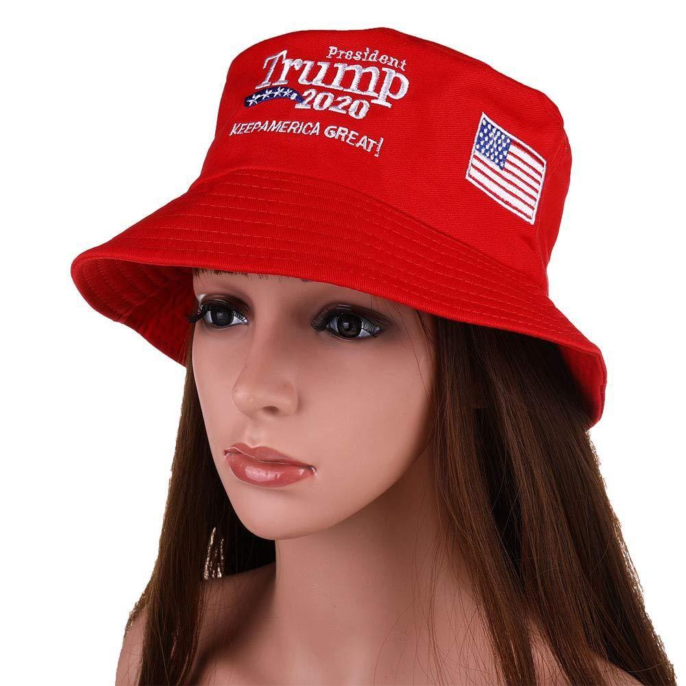 Bordados Donald Trump 2020 dobrável Bucket Dad Hat Mulheres protetor solar ao ar livre Cotton Caça Cap Mens Bacia Chapeau Sun Prevenir Chapéus