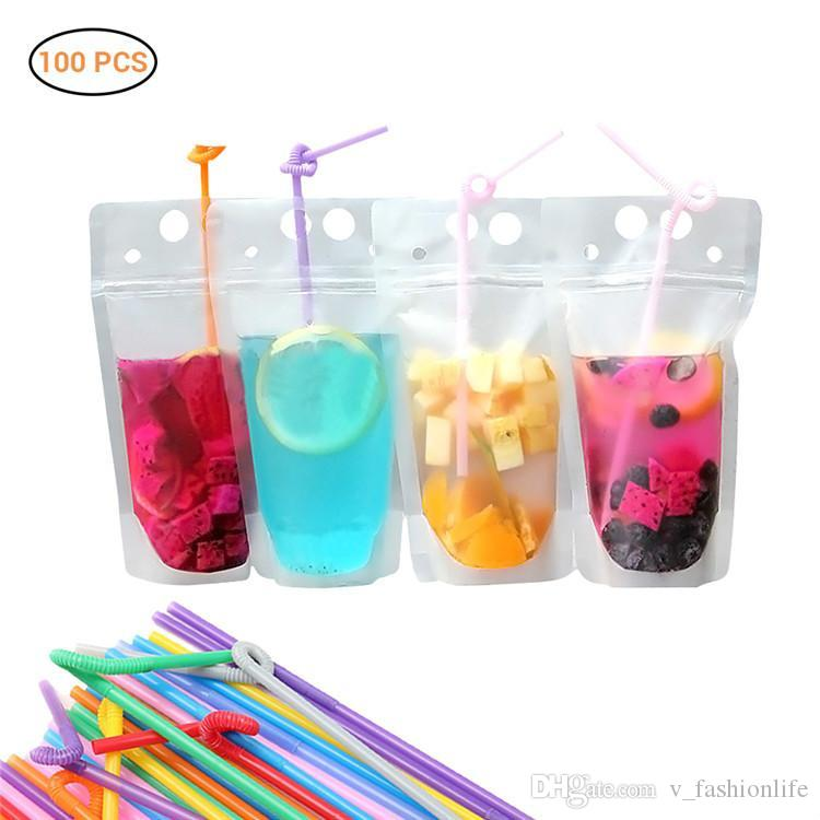 Clear Drink Pouches Bags frosted Zipper Stand-up Plastic Drinking Bag with straw with holder Reclosable Heat-Proof With Straw Party Tablewar