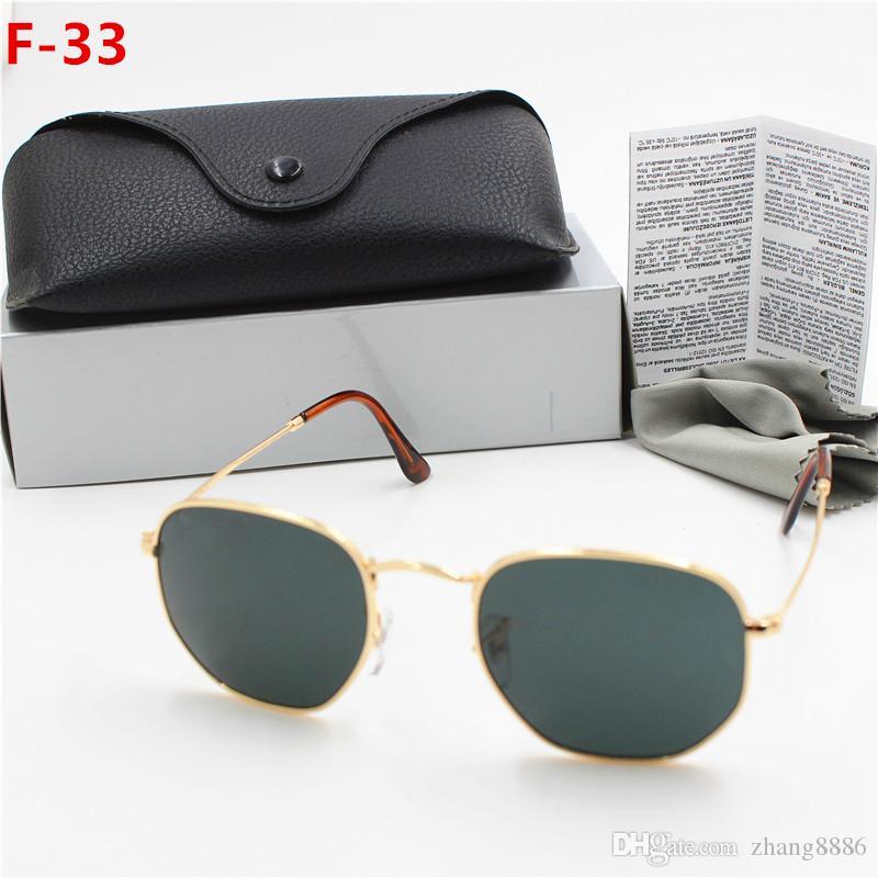 1PC جديد تميز أزياء ريترو معدن نظارات جولة نظارات شمسية نظارات للرجل امرأة الذهب الأسود زجاج 51 مم العدسات مع حالات أفضل