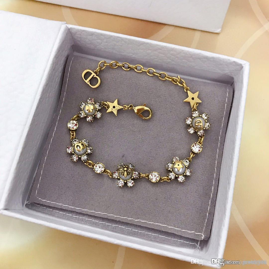 Europäische und amerikanische 2020 Frühling und Sommer arbeitet heißen Verkauf neue Produkte Set mit Diamant-Armband Luxus benutzerdefinierten Messing dickes Gold e plattiert