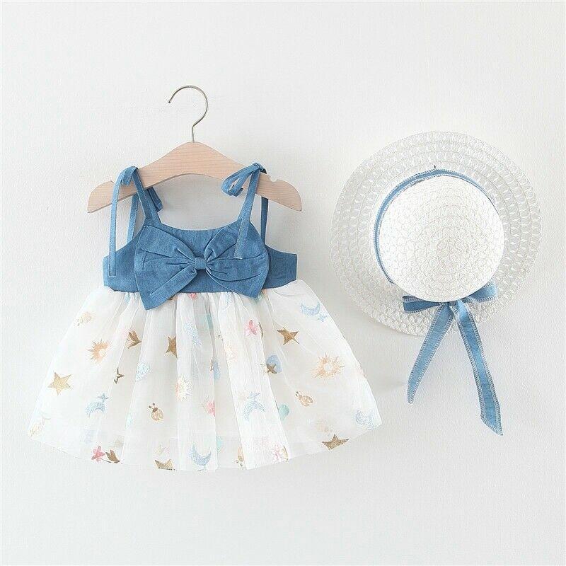 Infantil del bebé Niños ropa de la niña de arco vestido de verano Denim honda tul vestido del tutú de la princesa con Sun Hat sistemas de la muchacha linda