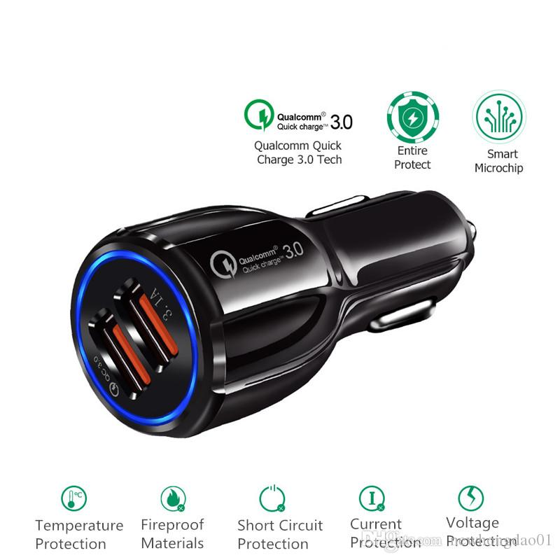 Fast Car Charger QC3.0 car charge 3.1A Dual USB Adapter Quick Charger for smartphones with package