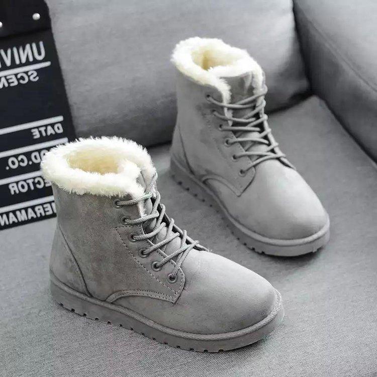 가을과 겨울 새로운 스타일 학생 스노우 부츠 여성 부츠 짧은 플랫 한국 스타일의 코튼 신발을 따뜻하게