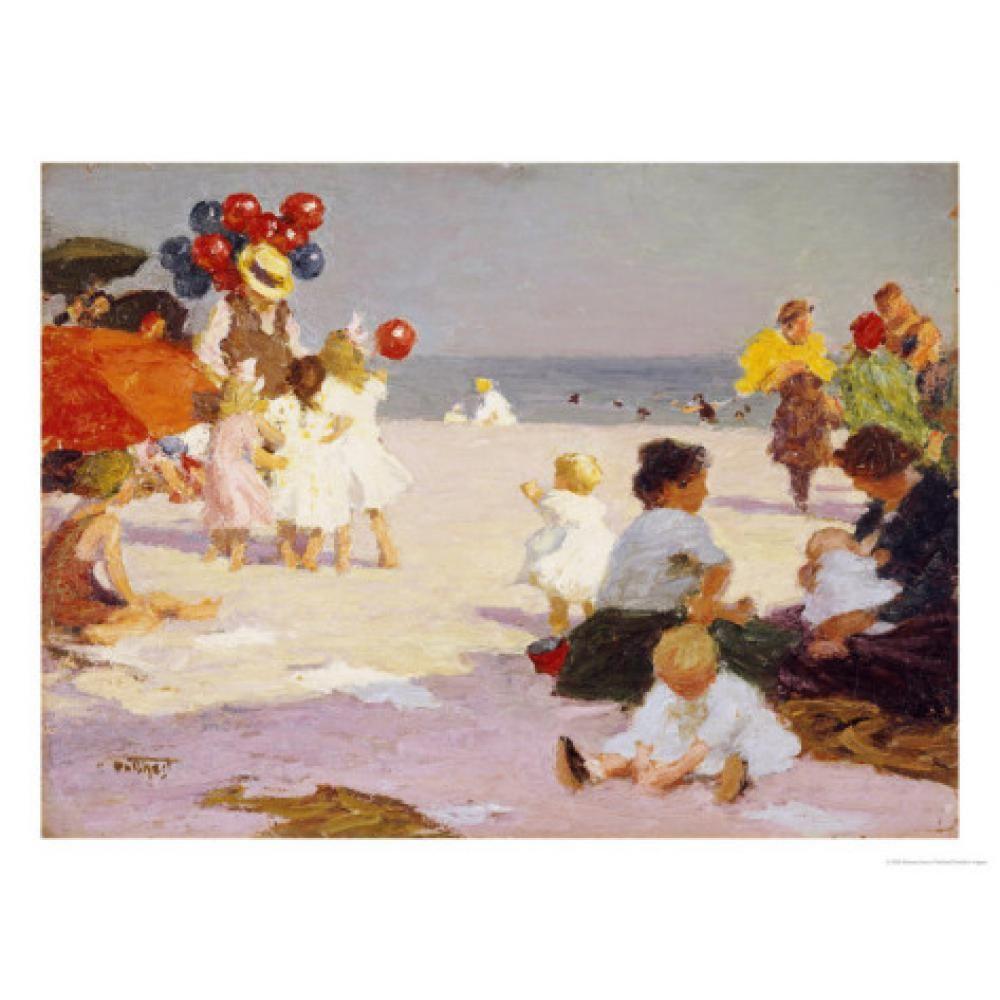 Manzara sanat yağlıboya tablolar Edward Henry Potthast Sahilde Ev dekor için soyut sanat