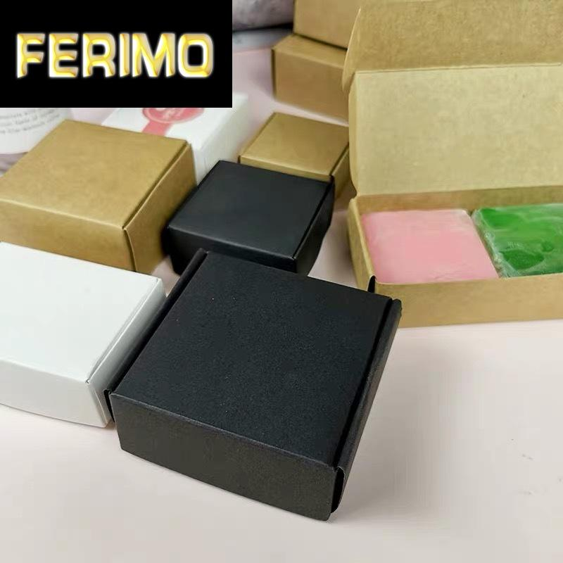 piccola scatola di Kraft carta, cartone scatola di sapone fatto a mano marrone, regalo carta del mestiere bianco, contenitore di monili confezione nera