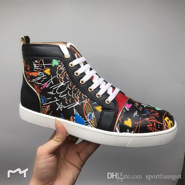 레드 하단 디자이너 신발 높은 커팅 스파이크 톱 버드 Sedue 종아리 운동 화 럭셔리 파티 웨딩 구두 정품 가죽 캐주얼 신발
