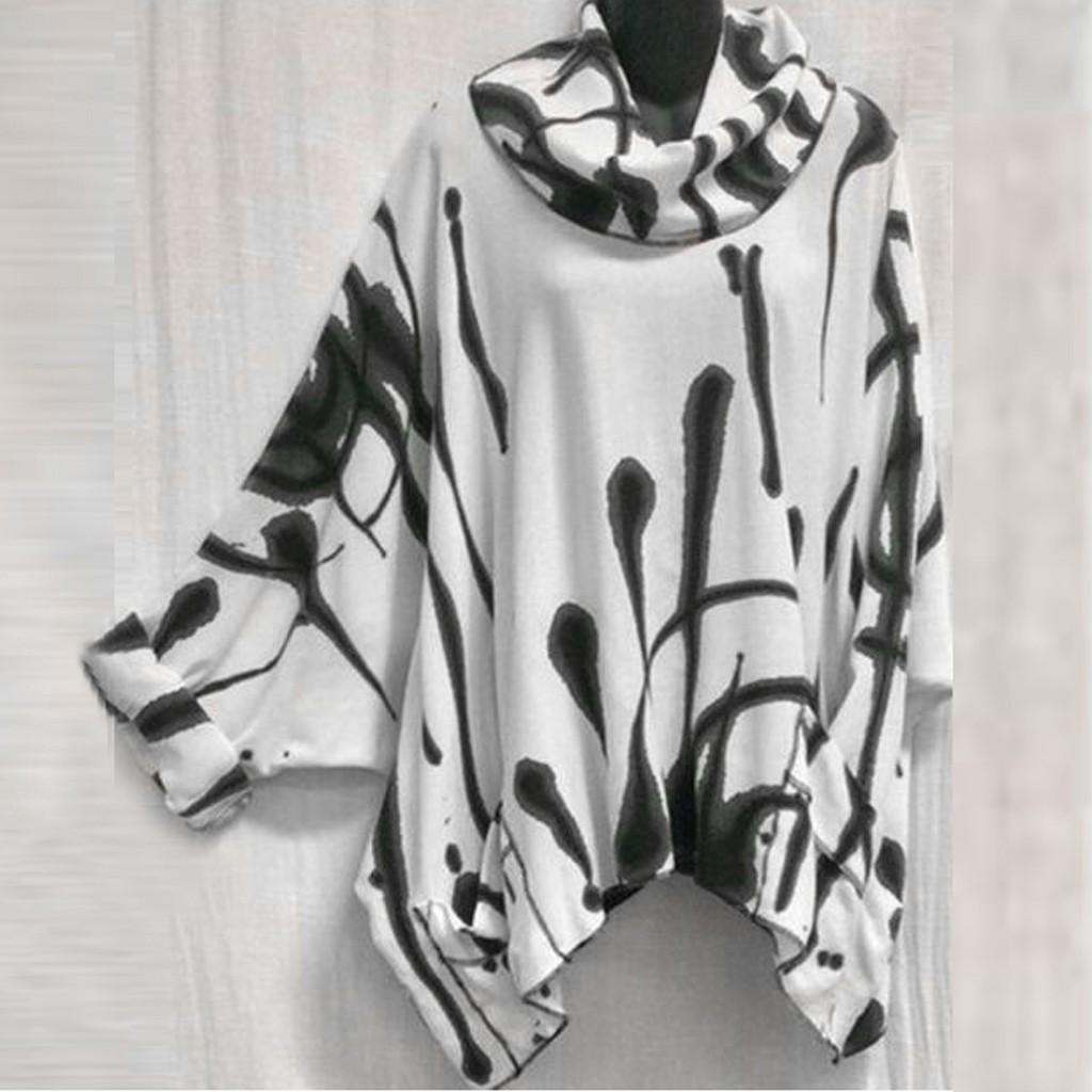 Plus Size Moda gola impresso Blusa Bat Sleeve Casual Inverno Ladies solto tops de manga Feminino Mulheres Long Blusas pulôver