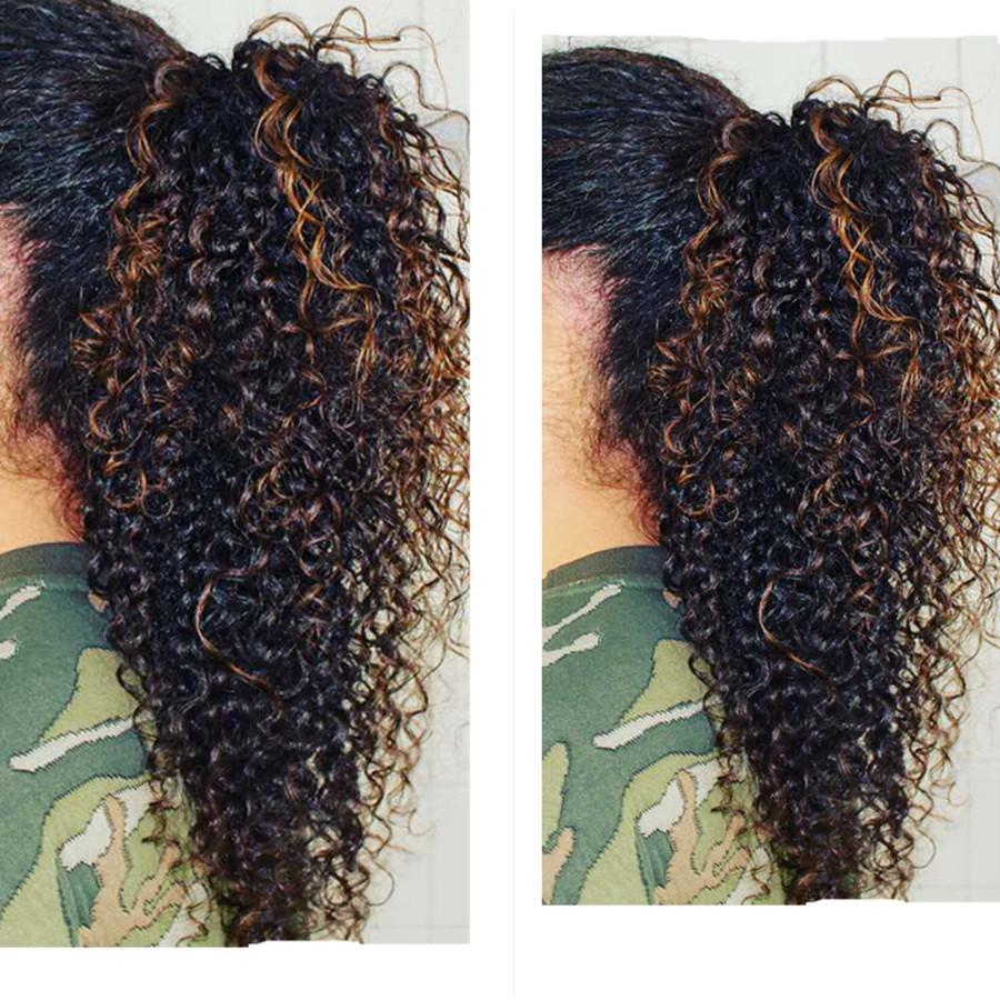 Natural at kuyruğu 100 İnsan saçı İpli Kinky kıvırcık at kuyruğu saç parça kadın uzatma 1b / 30 at kuyruğu vurgulamaktadır