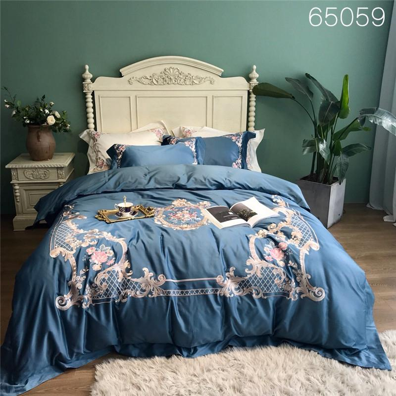 Silky Luxury Egyptian Cotton Royal Bedding Set Queen King size Bed sheet Oriental Embroidery Bed set Duvet Cover