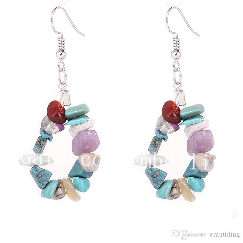 Turquoise Statement Earrings Classy Casual Earrings Semiprecious Stone With Crystal Beads earrings Self Gift Classy Turquoise Earrings