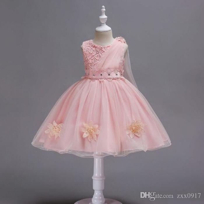 새 스타일 5 색 소녀 드레스 패션 꽃 민소매 오목 공주 레이스 드레스 아기 키즈 파티 웨딩 들러리