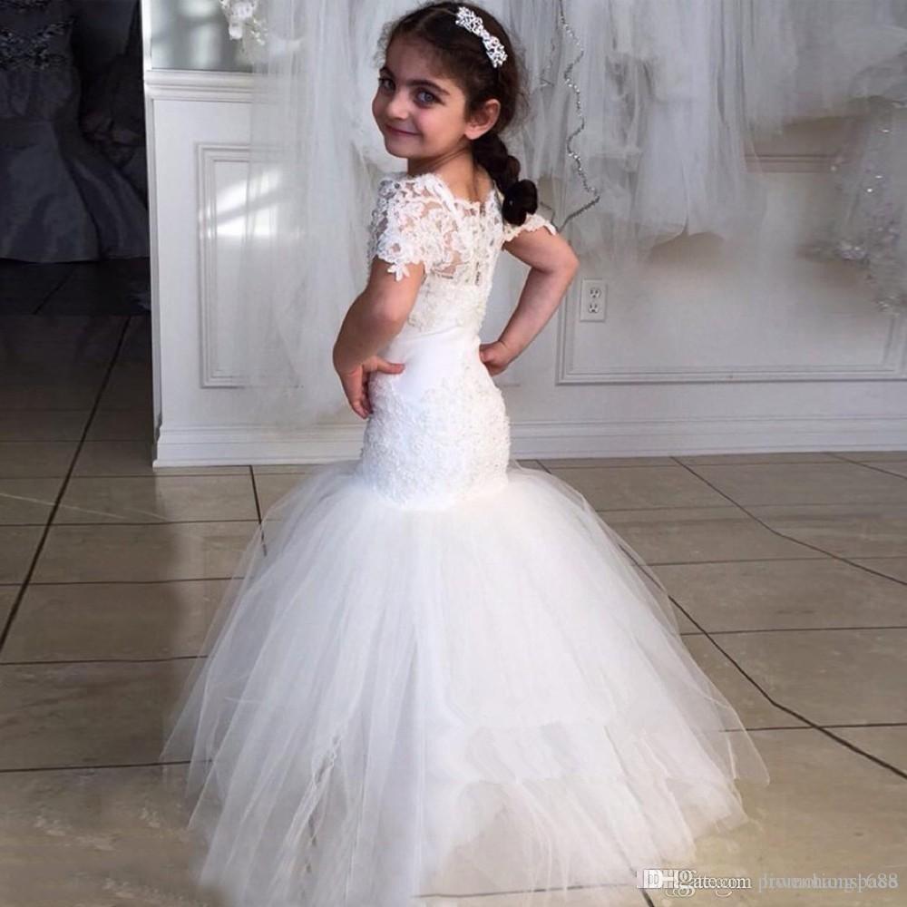 2020 White Lace Fleur Filles Robes pour les mariages de beauté à manches courtes sirène Fille Birthday Party Dress trompette Little Girls Pageant Wear