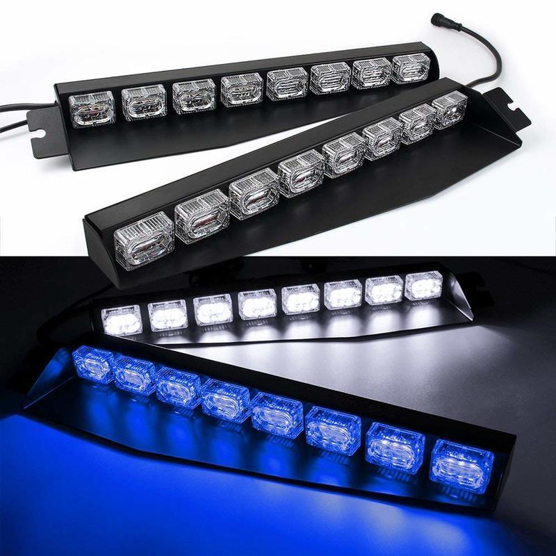 Azul / Branco 48LED 48 W LED Lightbar Viseira Luz Brisa de Emergência Aviso de Perigo Strobe Beacon Split Mount Deck Lâmpada de Traço