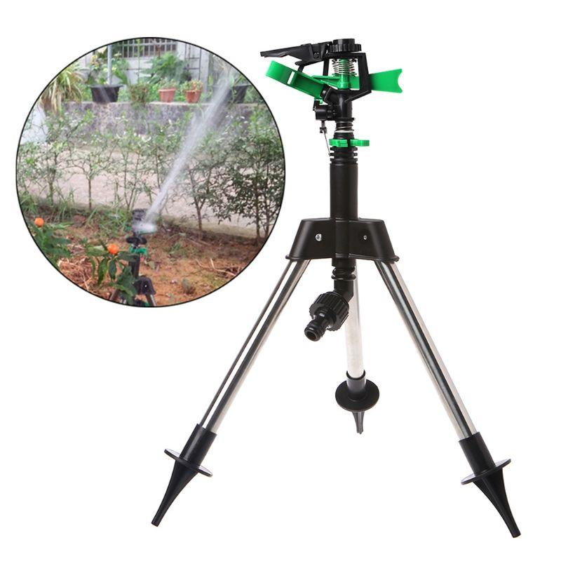 Stainless Steel Tripod Garden Lawn Watering Sprinkler Irrigation System 360 Degree Rotating for Agricultural Plant Flower