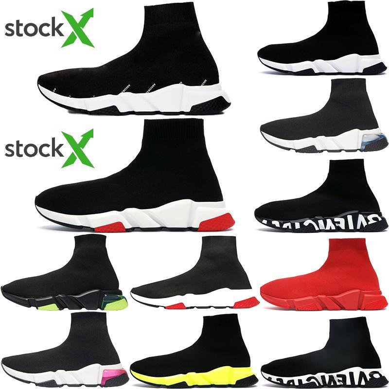 2020 Entraîneur Top Qualité Speed Mode Hommes Femmes Sock Chaussures Casual Triple Noir Blanc Neon Royal Gray Taillez Mens Styliste Sneakers