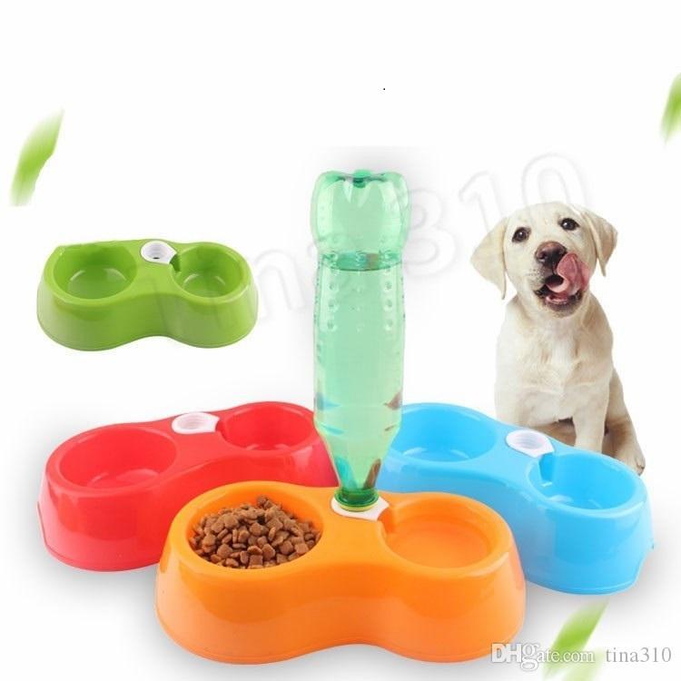 PET ACQUA DI ACQUA DOPPIA BOOK DUAL SCOPO PLOPGIBLE PILANCIO PIANO PET Bottiglia Anti Fall Fall Resistente Alimento per cani per cani Ciotola per cani T2i5639
