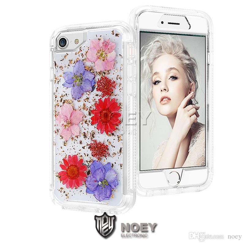 Handmad Real Dried Flower Shiny Robot Case for iPhone XS MAX XR X 8 7 6S Plus Galaxy S9 S9Plus Clear Phone Cases