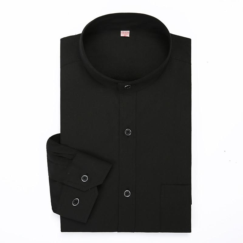 Classic Black Mandarin Collar Solid Color Long Sleeved Dress Male China Shirt Stand Collor Business Formal Brand Mens Clothing