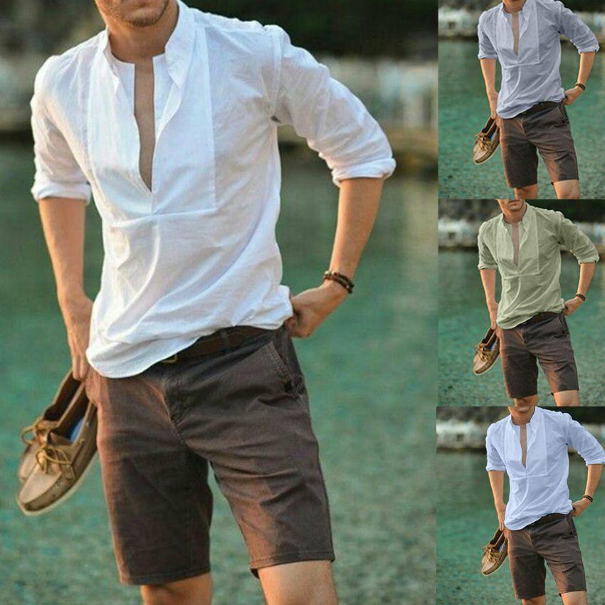 Cuello Hombre Sólido Diseñador Tees V Moda Moda de manga larga Casual para hombre Tshirts Camisetas de color suelto T Qkhii