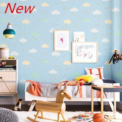 홈 벽 장식 푸른 하늘과 흰 구름 어린이 방에 TV 벽 종이 소년 소녀 공주 침실 방 귀여운 부직포 분홍색 벽지