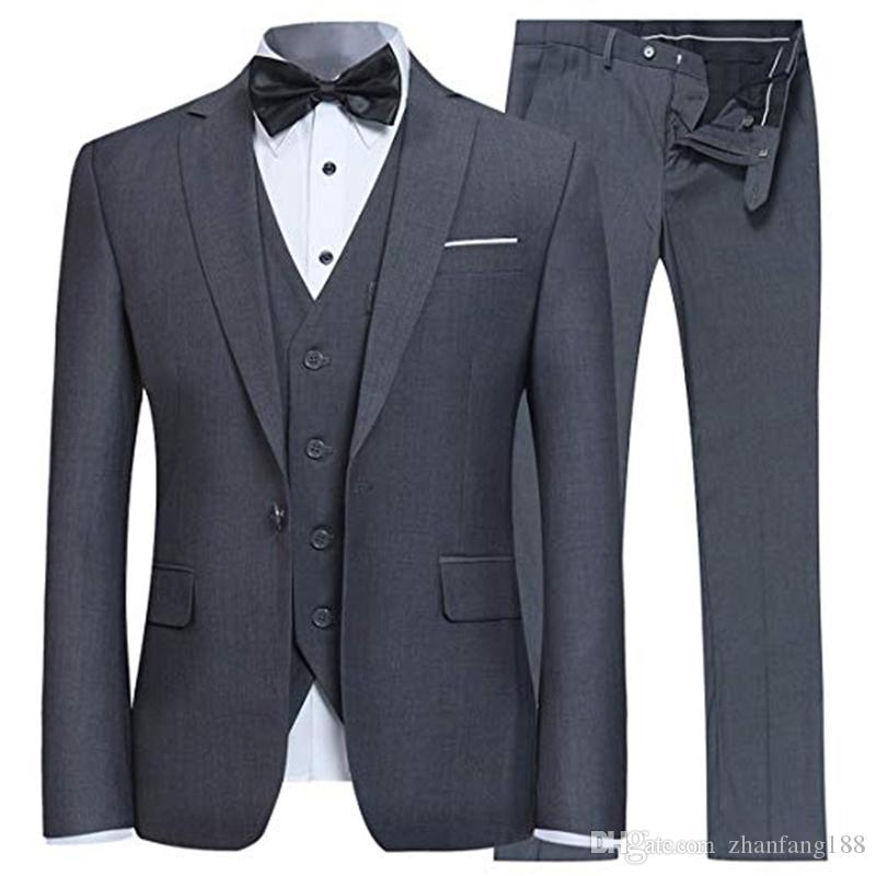 3 Stück Zu Slim Fit Anzug One Button Männer Blazer BräutigamGroomsman Tuxedo (Jacke + Weste + pants) Kostüm Homme Terno