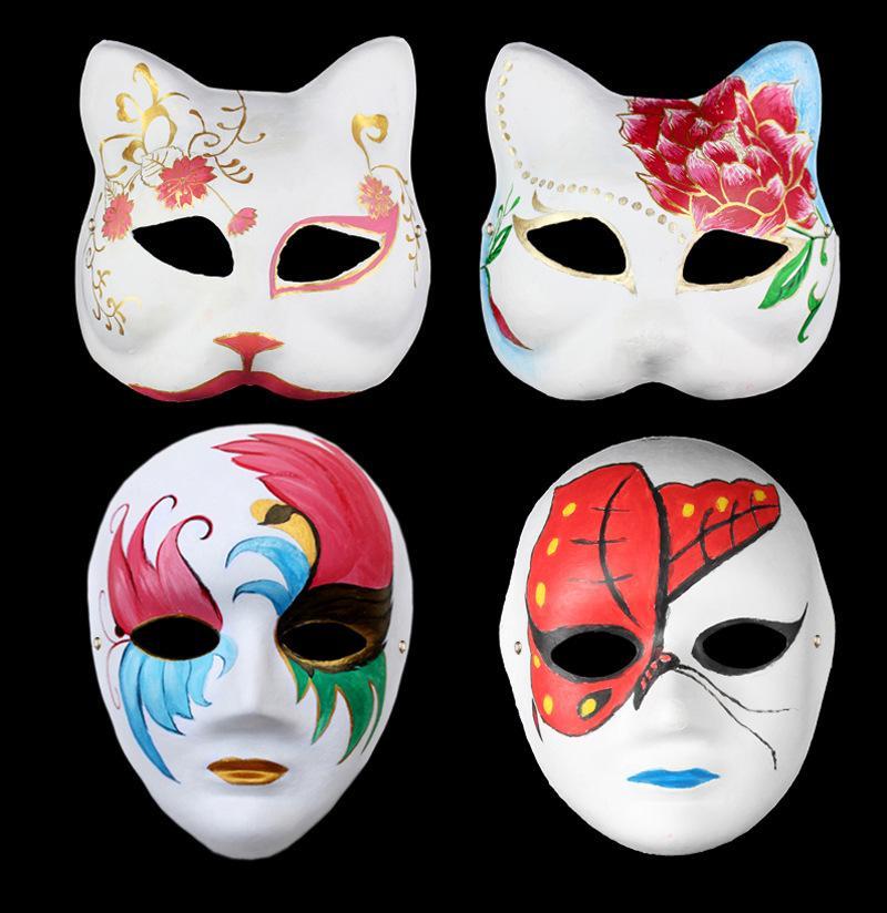 Criativo DIY Proteção Ambiental Branco Embryo Graffiti Coloring Pulp Máscara Mão Pintura Desenhar Máscara Máscara Atacado Halloween