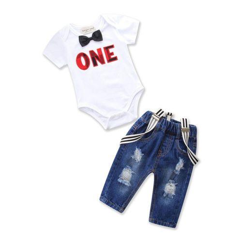 طفل طفل رضيع فتاة 2PCS مجموعة خطابات العلاقات رومبير بذلة + الحمالات سروال جينز الحجم 0-3T