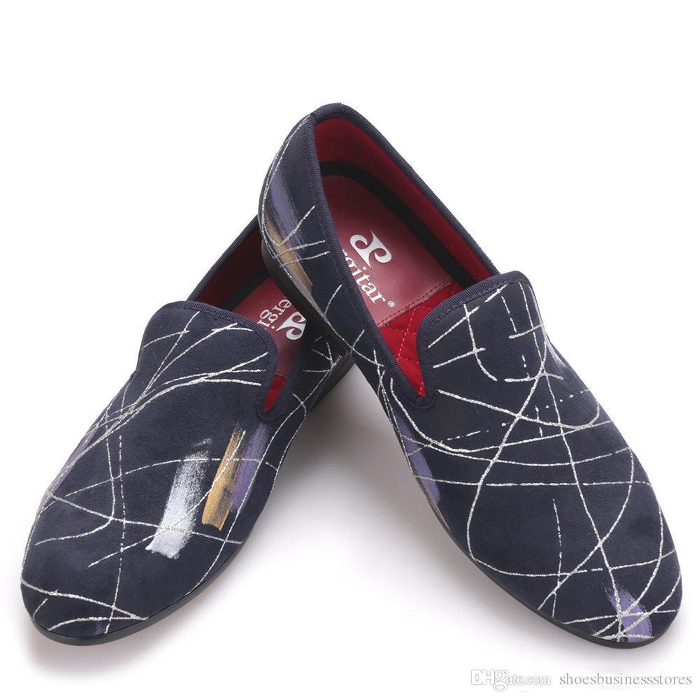 Ручного стиль картины масла Мужчину платье обувь Мужчина партия и Пром Плюс Размер Мокасин Мужского Flats