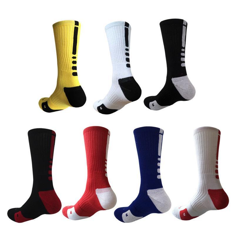 2pcs = 1pair USA Basketball Elite Professionnel Chaussettes longues genou sport Chaussettes sport hommes Mode de compression Chaussettes thermiques en gros