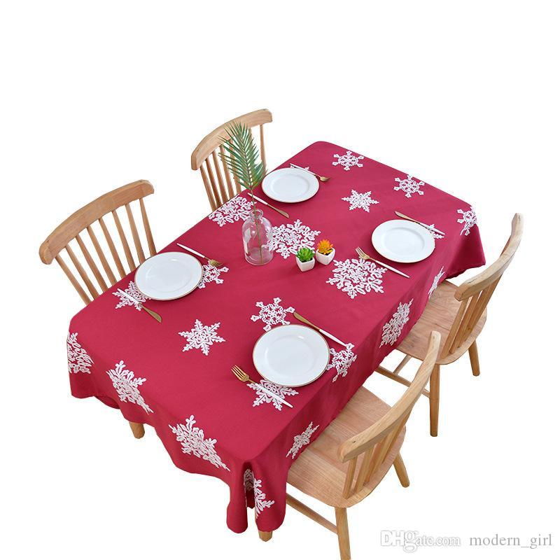 Navidad del copo de nieve nueva alta calidad resistente al agua restaurante del hotel mantel Inicio mantel bordado del confeti de la decoración de la fiesta de Navidad