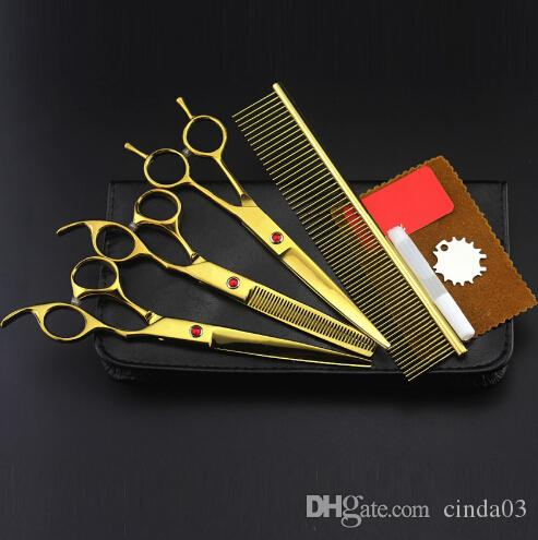 4 kits Professional Gold pet 7 inch shears cutting hair scissors set dog grooming clipper thinning barber hairdressing scissors
