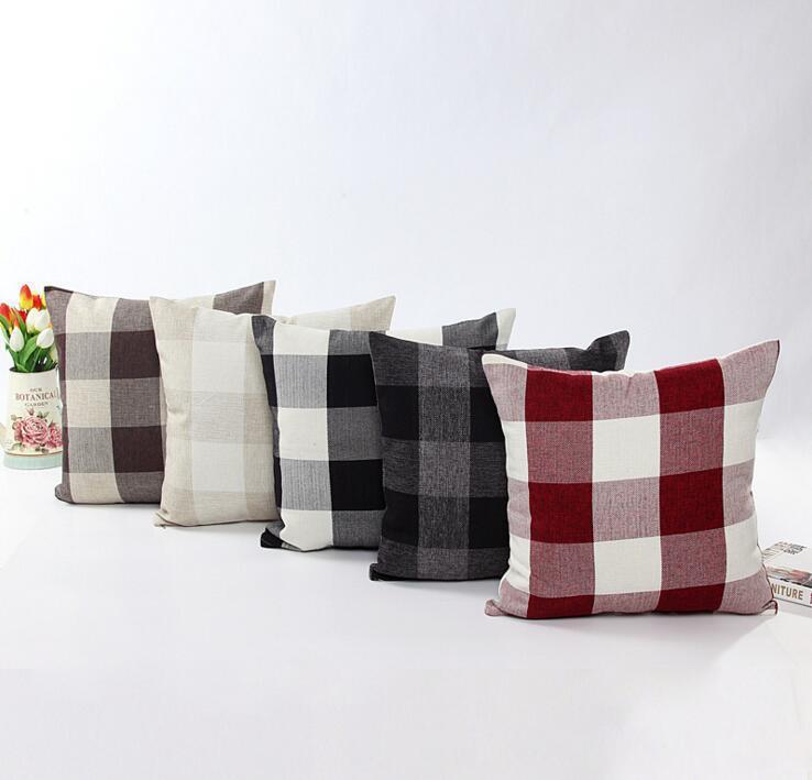 Классическая большая решетка наволочки натурального лена декоративной наволочка Гостиная кровать офис подушка крышка 45 * 45см