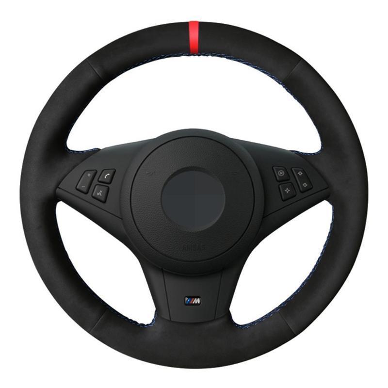 Car Steering Wheel Cover Genuine Leather Suede For E60 M5 2005-2008 E63 E64 Cabrio M6 2005 2006 2007 2008 2009 2010 Parts
