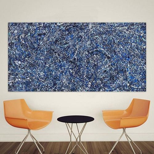 """Jackson Pollock """"Sfondo blu"""" di alta qualità dipinta a mano / HD Stampa pittura a parete di arte della decorazione della casa di arte astratta olio moderna su Canvas.jk15"""
