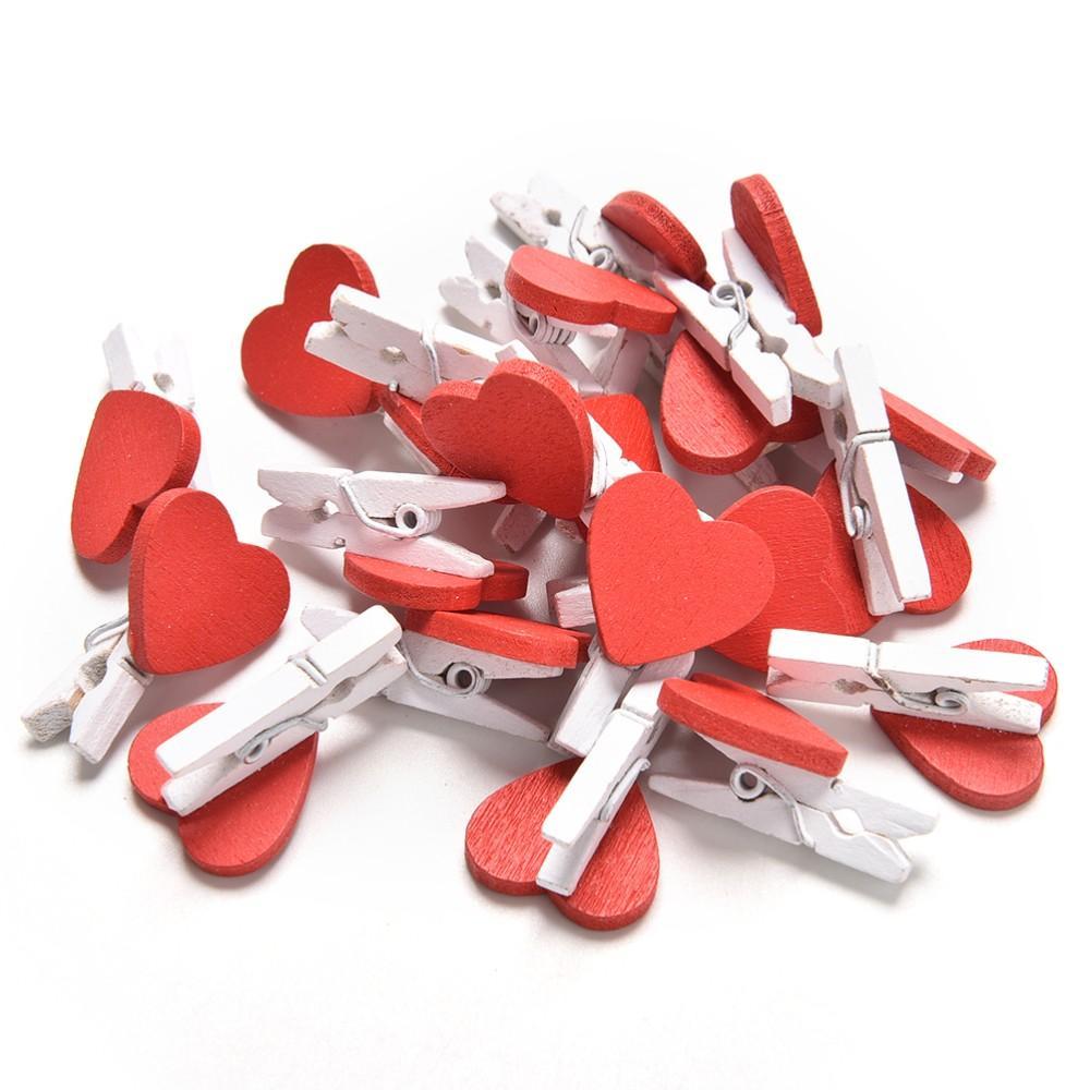 50pcs Mini en bois amour cœur rouge chevilles Papier Photo Clips Mariage Decor Craft Peg