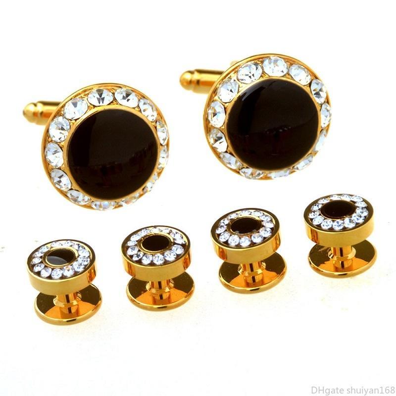Erkekler İş Style Tasarımcı Kol Düğmeleri Rhinestone Manşet Yaka Düğmeler Seti Kadınlar Erkek Fransız Gömlek Kol Düğmesi Studs Kol Düğmesi Takı Hediye