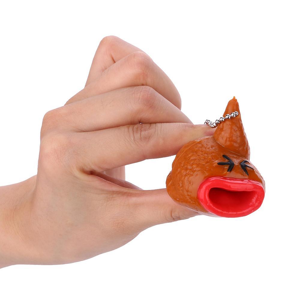 참신 재미 리틀 까다로운 장난 휴대용 장난감 밖으로 살아있는 똥 이모티콘 장난감 열쇠 고리 혀 혀 L1216