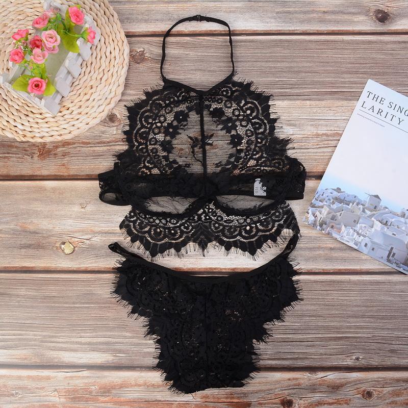 2020 Lingerie érotique dentelle sexy Soutien-gorge push-up Set Lingerie de nuit Broderie Femmes Transparent Set Sous-vêtements Vêtements sexe