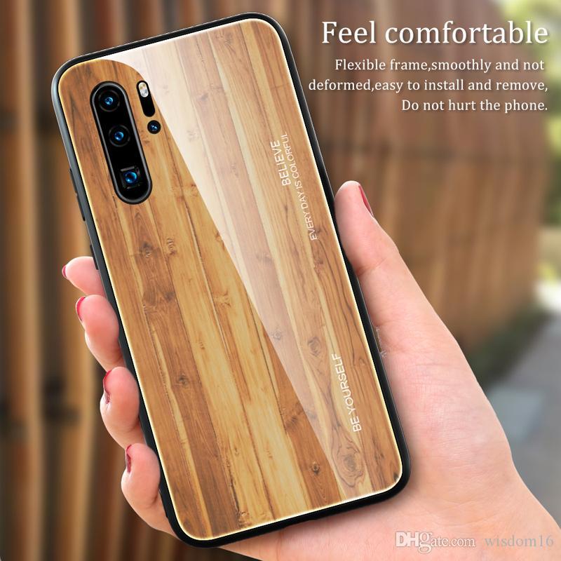Pour Pro P30 Huawei P20 Lite Luxe Grain De Bois Téléphone Cas Pour Mate30 Souple TPU Bord Du Verre Mince Couverture Shell Coque Proposé Par Wisdom16, ...